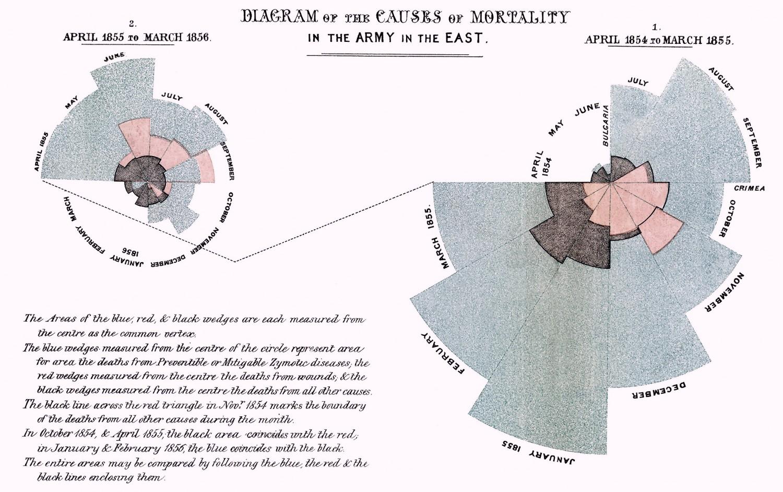 Diagramme des causes de mortalité dans l'armée britannique durant la guerre de Crimée