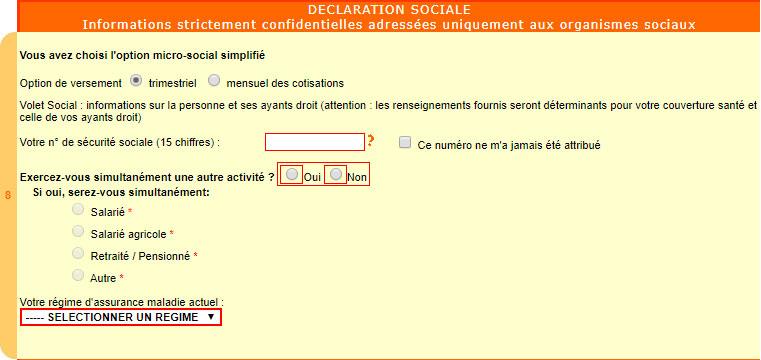 Cadre 8 de la déclaration autoentreprise : Déclaration sociale