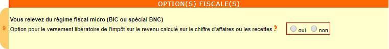 Cadre 9 de la déclaration autoentreprise : Options fiscales
