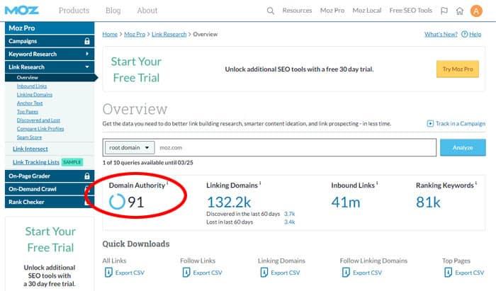 Pour connaître votre score d'autorité de domaine, il suffit d'accéder au Moz Link Explorer.