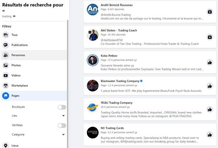 Recherchez dans les pages Facebook pour avoir une idée du potentiel de votre niche