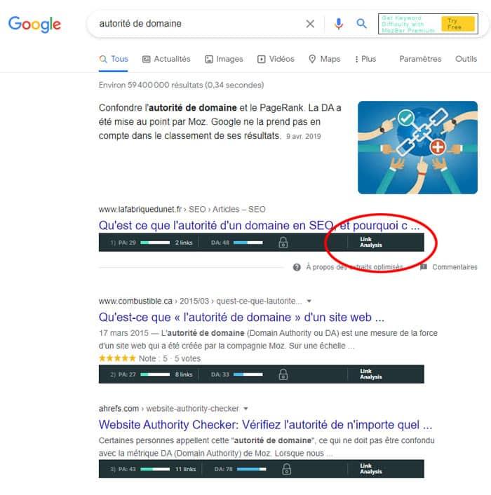 Avec la Mozbar activée, vous obtiendrez les métriques essentielles des pages présentes dans les SERP de Google